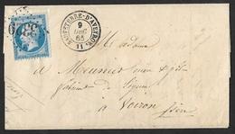 Aveyron.Lettre Avec Gros Chiffre 3329 De Sauveterre D'Aveyron Sur N°22 - Marcophilie (Lettres)