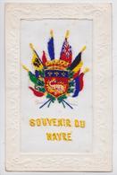 Souvenir Du HAVRE - Cpa Brodée Militaire Grande Guerre Blason Salamandre De Feu Fire Salamander Embroidered Postcard WW1 - Le Havre