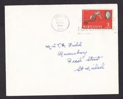 Barbados: Domestic Cover, 1966, 1 Stamp, Queen, Sea Horse, Animal, Sea Life (traces Of Use) - Barbados (...-1966)