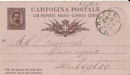 INTERO REGNO UMBERTO I CENT 15 +R SX MIL 87 1889 DOMANDA MORBEGNO X TEGLIO - Stamped Stationery