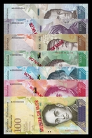 Venezuela Set 500 1000 2000 5000 10000 20000 100000 Bolívares 2016-2017 Pick 94-100 Specimen SC UNC - Venezuela