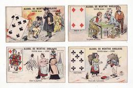 Lot De 4 Chromos  ALCOOL DE MENTHE TOYE  à Lyon   Cartes à Jouer        10.4 X 6.4 Cm - Trade Cards