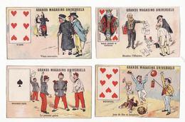 Lot De 4 Chromos  MAGASAINS UNIVERSELS  à Lyon   Cartes à Jouer        10.4 X 6.4 Cm - Trade Cards