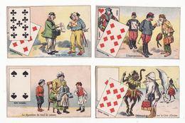 Lot De 4 Chromos  Sans Pub   Cartes à Jouer        10.4 X 6.4 Cm - Trade Cards