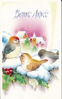 Petite Carte (8 Cm X 12,5 Cm) - Bonne Année - Paysage De Neige - Oiseaux (1996) - Nouvel An