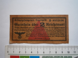 """WWII GERMANY COPY """" BANKNOTE Gutschein über 2 Reichsmark Kriegsgefangenenlager DEUTSCHE WW2 MARK Prisoner War Camp Money - Documents"""