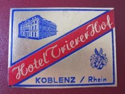 HOTEL MISC KOBLENZ RHEIN KUR GASTHOF DEUTSCHLAND GERMANY DECAL STICKER LUGGAGE LABEL ETIQUETTE KOFFERAUFKLEBER - Hotel Labels