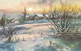 Petite Carte (8,5 Cm X 13,5 Cm) - Bonne Année - Paysage De Neige - - Nouvel An