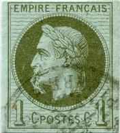 !!! PRIX FIXE : COLONIES GENERALES, 1C LAURÉ N°7a, VARIÉTÉ À LA CIGARETTE, SIGNÉ CALVES - Napoléon III