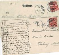 TP N° 69 Sur 2 Cartes Postales Postées En Alsace Dont Une Taxée - Alsace-Lorraine