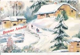 Petite Carte (8,5 Cm X 13,5 Cm) - Bonne Année - Paysage De Neige - (Esp - 1597) - Nouvel An