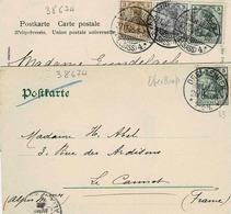 TP N° 81 à 83 Sur 2 Cartes Postales Postées à Mulhouse Et Trois Epis - Elsass-Lothringen