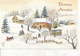 Petite Carte (8,5 Cm X 13,5 Cm) - Bonne Année - Paysage De Neige - (Esp 1596) - Nouvel An