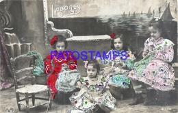 127310 REAL PHOTO FOUR GIRLS SEWING WORKS BREAK POSTAL POSTCARD - Photographs