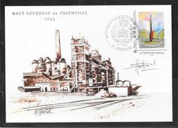 1912014 - THIONVILLE METROPOLE DU FER - CP HAUT FOURNEAU OBLITEREE DU 18/11/12 - SIGNEE PAR L'ARTISTE - France