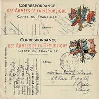 Deux Cartes De Correspondance En Franchise Avec Drapeaux Alliés - Wars