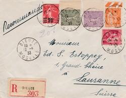 Env Recommandée ( Tarif 3f50 ) T.P. Ob Cad Dieuze 12 8 33 Pour Lausanne Suisse - Tarifs Postaux