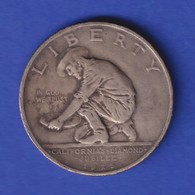 USA 1925 Silber-Gedenkmünze California Diamond Jubilee  Grizzly-Bär  Henkelspur - Vereinigte Staaten