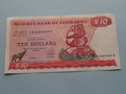 10 - TEN DOLLARS ( CB3459589S ) Reserve Bank Of Zimbabwe ( For Grade, Please See Photo ) ! - Zimbabwe