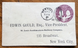 STATI UNITI  1492-1892 POSTAGE  TWO  CENT COLOMBUS - NEW YORK 12/9/1893 -EDWIN GOULD VICE PRESIDENT - 1847-99 General Issues