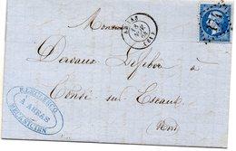 Pas-de-Calais - LAC Affr N° 22 Obl GC 174 - Càd Type 15 Arras - 1849-1876: Periodo Clásico