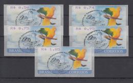Brasilien ATM Ararajuba, Mi.-Nr. 8, Satz 5 Werte 50-74-75-95-185 ET-O - Frankeervignetten (Frama)