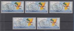 Brasilien ATM Ararajuba, Mi.-Nr. 8, Satz 5 Werte 27-40-45-60-1,50 ET-O - Frankeervignetten (Frama)