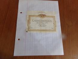 """Etiquette De Vin Collée Sur Papier """" Cabernet-Sauvignon """" - Vin De Pays D'Oc"""