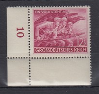 Dt. Reich, Mi.-Nr. 908 Volkssturm-Marke Eckrandstück ** Mit Seltenem PLF VI  - Allemagne