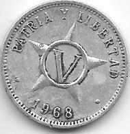 Cuba 5 Centavos 1968  Km 34 Vf+ - Cuba