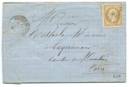 N°13 BISTRE NAPOLEON SUR LETTRE / MONESTIES SU CEROU CARMAUX TARN POUR LAGARDE VIAUR / 13 AVRIL 1859 / PC 2036 INDICE 10 - Poststempel (Briefe)