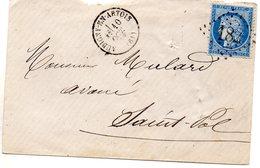 Pas-de-Calais - Env Sans Corresp Affr N° 60A Obl GC 182 - C 16 Aubigny-en-Artois (B) - Marcophilie (Lettres)
