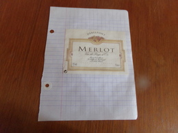 """Etiquette De Vin   Collée Sur Papier """" Merlot """" - Vin De Pays D'Oc"""