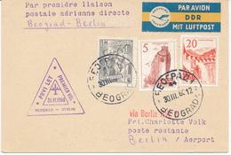 BEOGRAD  -  30.3.60  ,  Erstflug    Beograd - Berlin / DDR - Airmail