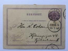 SWEDEN 1880 Brefkort Stockholm To Copenhagen - Entiers Postaux