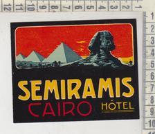 ETICHETTA LABEL ETIQUETTE  SEMIRAMIS HOTEL CAIRO - Hotel Labels