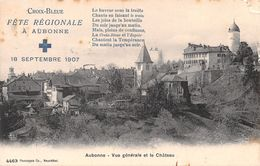 Croix-Bleue Fête Régionale à Aubonne 18 Septembre 1907 Vue Générale Et Le Château - Texte Anti-alcoolique - Alcool - VD Waadt