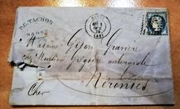 TIMBRE CERES MOUCHETE SUR LETTRE FACTURE BRODERIES DE NANCY P.C. TACHON CACHET RECEPISSES DE VALEUR NERONDES - 1871-1875 Cérès