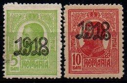 Romania 1918, Scott 241 242 MNH, Overprint, King Charles / Carol - 1881-1918: Charles I