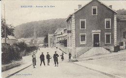 "54  1918 Environs De Longwy  - Saulnes  - "" Avenue De La Gare  / Café De L Est "" - Longwy"