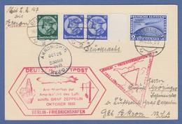Dt. Reich Zeppelin LZ 127 Chicagofahrt 1933 2RM Mi-Nr. 497 Auf Karte Nach Akron - Timbres
