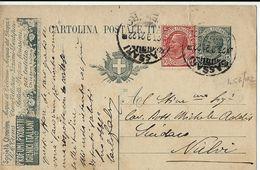INTERO REGNO LEONI 15 CENT MIL 20 PROFUMI TREVES 1922 SASSARI X NULVI - Interi Postali