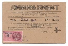 Carte Abonné Journal De L'artisan  Ameublement   1947  1948  Fiscal 3F - Vieux Papiers
