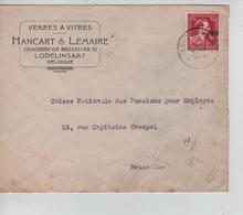 REF155/ TP 724N S/L.Entête Verres à Vitres Hancart & Lemaire Surcharge Locale Lodelinsart 7/6/46 > BXL - 1946 -10%