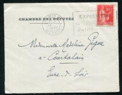 16181 FRANCE  N°283° Flamme Exposition Internationale Paris 1937  Paris Départ Du 18.1.1937    TB - Marcofilia (sobres)