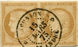 !!! PRIX FIXE : COLONIES GENERALES, PAIRE DU N°11 OBLITÉRÉE CAD RÉUNION SAINT-ANDRÉ (1873) - Ceres