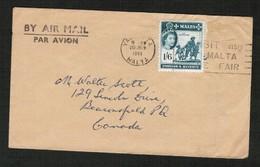 MALTA   Scott # 257 On AIRMAIL COVER To CANADA (20/JUN/1961) (OS-541) - Malta