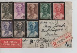 REF157/ TP 411/418 S/L.Recommandée Exprès C.Antwerpen 28/2/1936 > Allemagne Bremen - Belgique