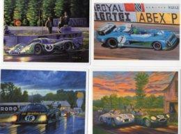 Lot De 4 CPM's  -  24 Heures Du Mans - Matra-Mercedes-Jaguar-Porsche-Rondeau  -  Art Postcards By Christophe Parodi - Le Mans