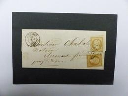 LETTRE  ORIGINALE  AVEC  N°  21 A  ET  21 B  COTE  35 € - Marcophilie (Lettres)